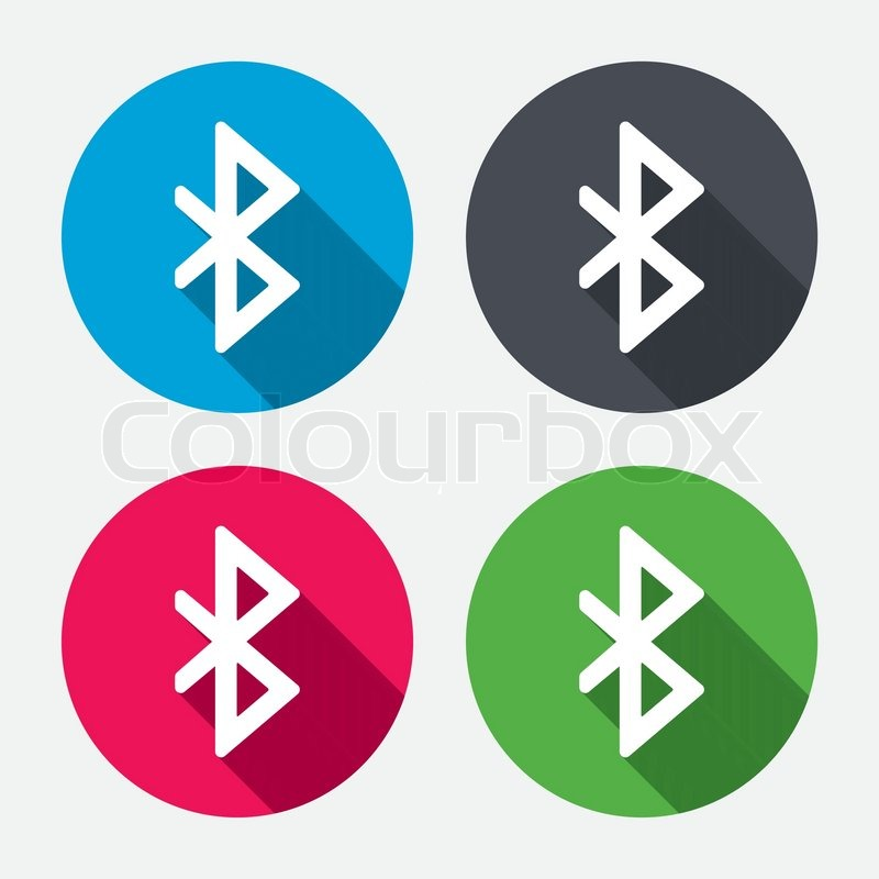Bluetooth Sign Icon Mobile Network Symbol Data Transfer Circle