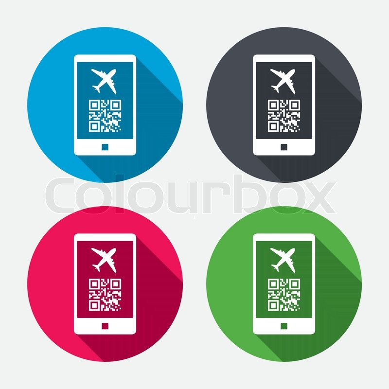 Boarding Mobile Pass Flight Sign Icon Airport Ticket On Smartphone Symbol Circle Buttons With Long Shadow 4 Icons Set Vector