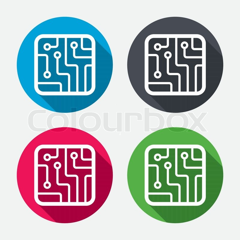 technology icon symbol circuit board sign vector square icons circle buttons scheme button shadow symbols round orange circles long flat