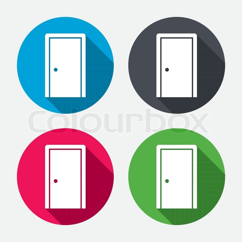 Door sign icon. Enter or exit symbol. Internal door. Circle buttons with long shadow. 4 icons set. Vector vector  sc 1 st  Colourbox & Door sign icon. Enter or exit symbol. Internal door. Circle ...