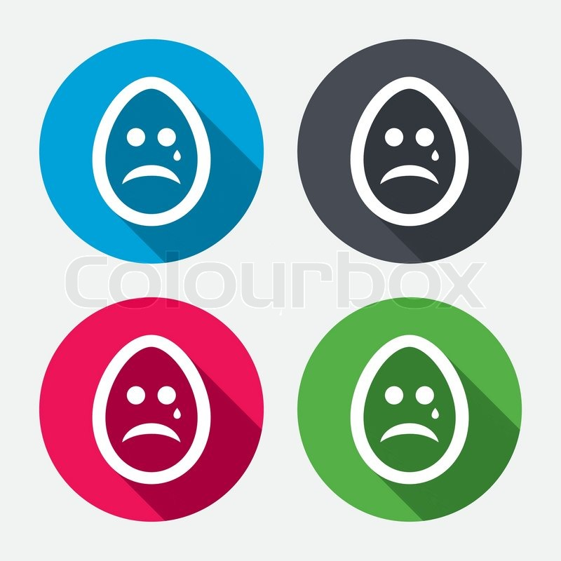 Sad Easter Egg Face With Tear Sign Icon Crying Chat Symbol Circle