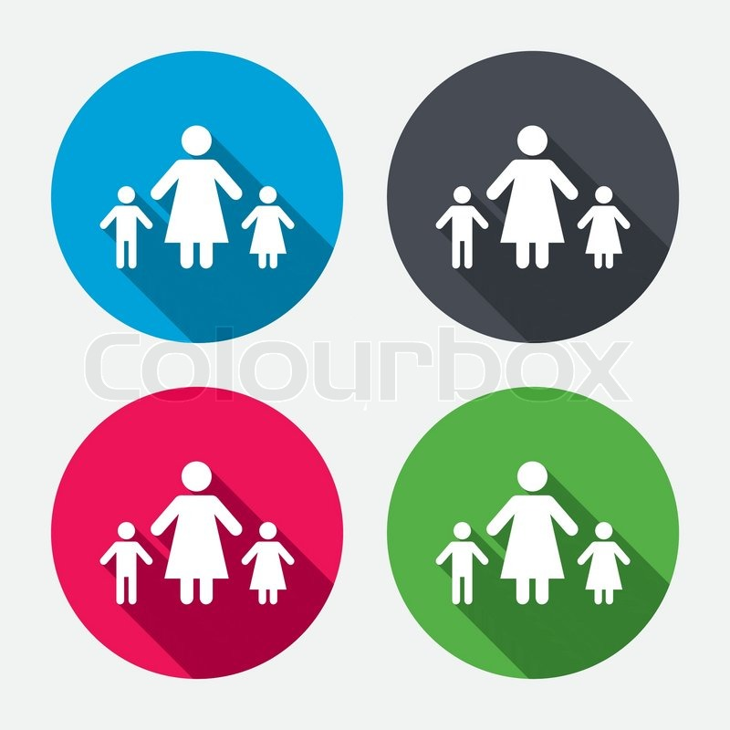 One Parent Family With Two Children Sign Icon Mother With Son And