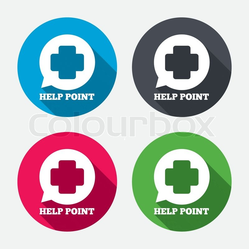 Help Point Sign Icon Medical Cross Symbol Circle Buttons With Long