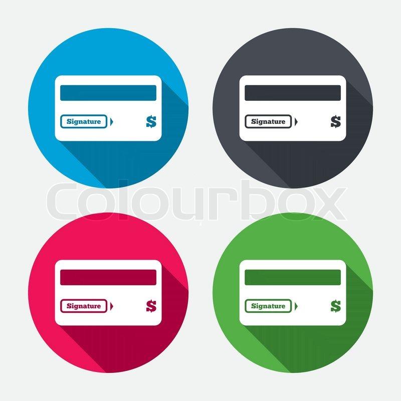 Credit Card Sign Icon Debit Card Symbol Virtual Money Circle