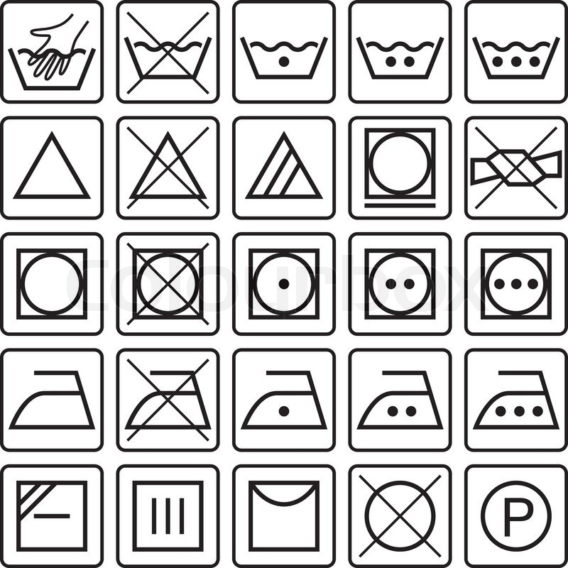 Icon Set Of Washing Signs And Textile Care Label Symbols Stock