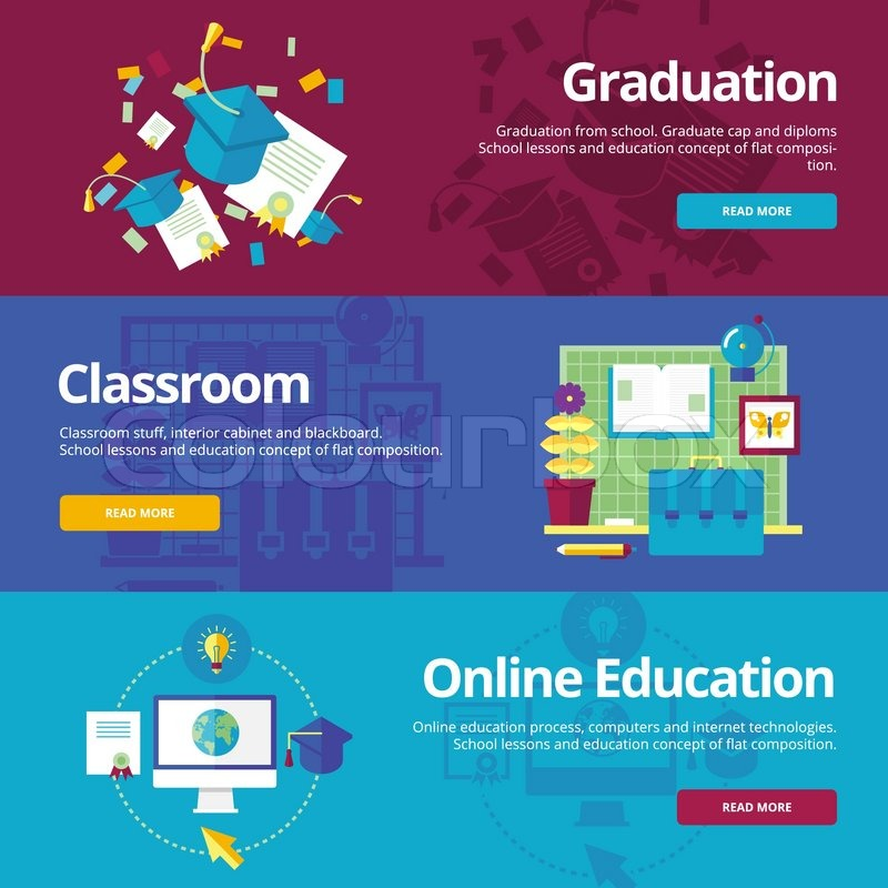 Set of flat design concepts for graduation, classroom, online ...