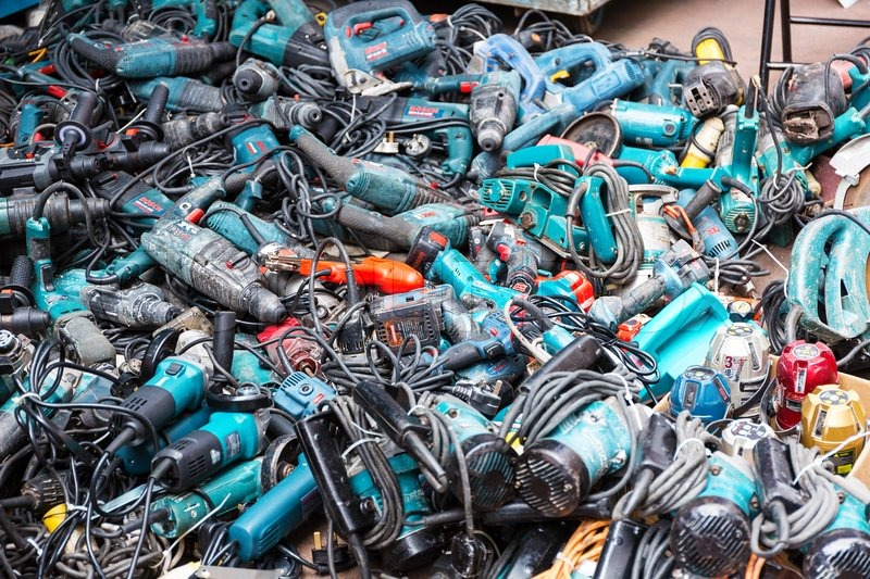 hong kong, november 1: market sale of second hand power tools on the ...