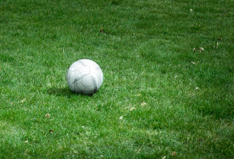 Soccer ball on a grassy field stock photo colourbox soccer ball on a grassy field stock photo voltagebd Images