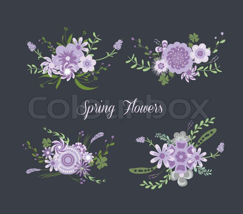 Chalkboard Spring purple Flowers, vector