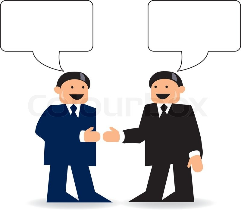 two businessmen talking with talk bubbles stock vector colourbox rh colourbox com
