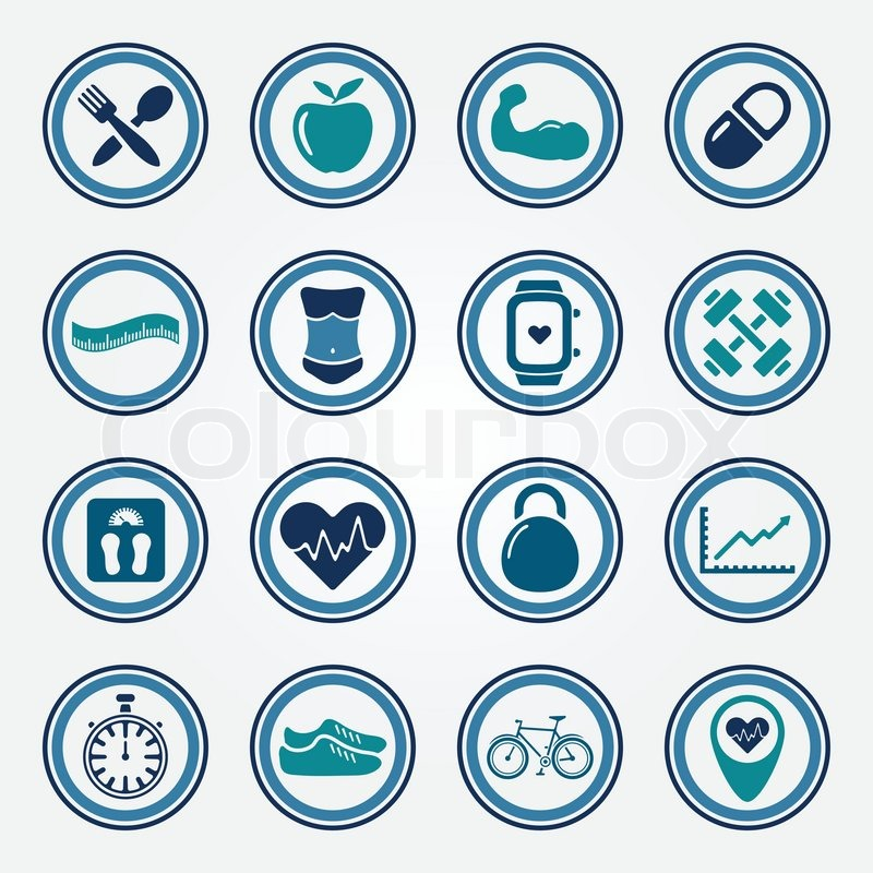 Fitness And Health Colorful Flat Icons Set Sport Vector Symbols