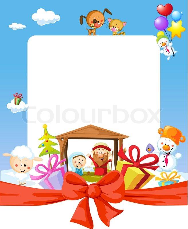 Christmas frame - nativity with jesus, maria and joseph - cartoon ...