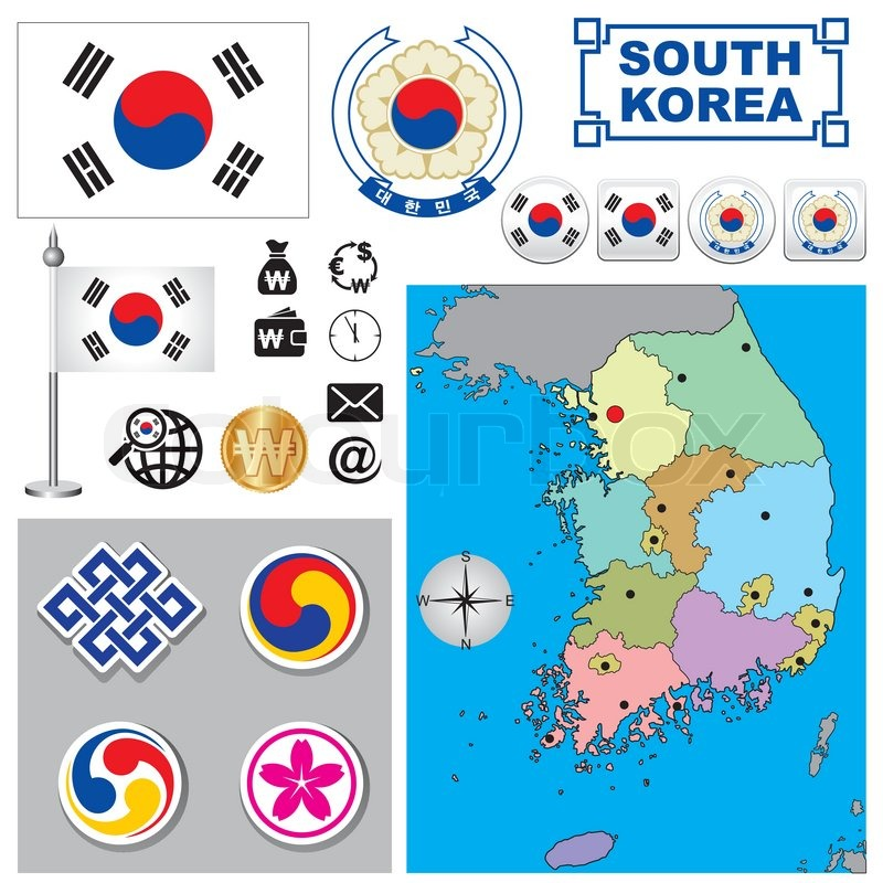 Vector Map Of South Korea With A Set Of Signs And Symbols Stock
