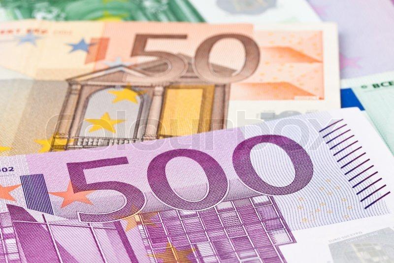 Many Euro banknotes money. Image Photos of wealth, stock photo