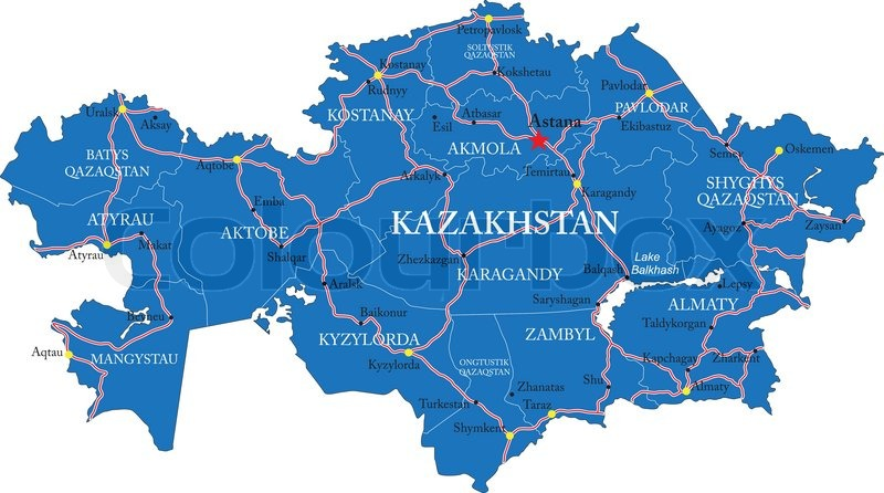 Highly detailed vector map of Kazakhstan with administrative regions