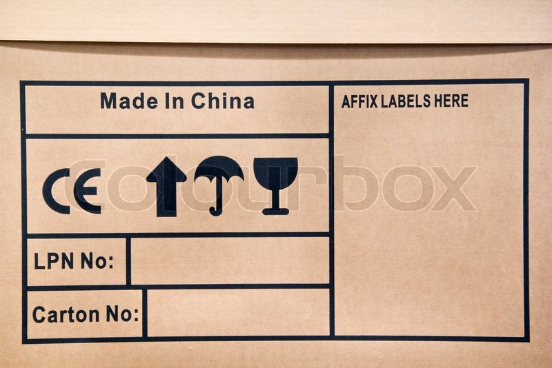 Fragile Symbol On Paper Carton Made In China Stock Photo Colourbox