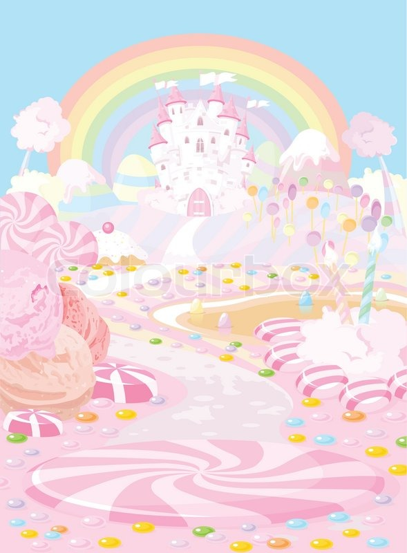 Illustration Pastel Colored A Fairy Kingdom Stock Vector