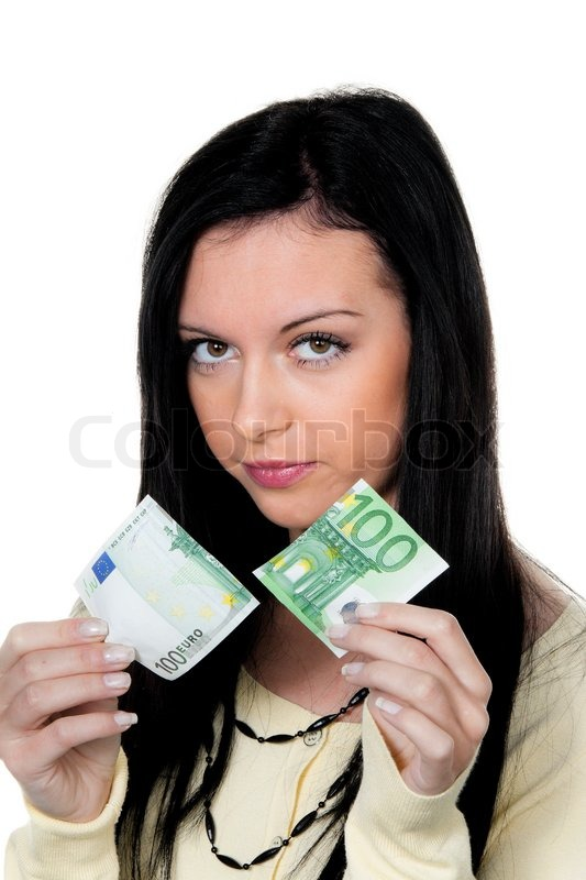 Stock image of 'Young woman with ? banknotes of the European currency. Symbol of duties and taxes'
