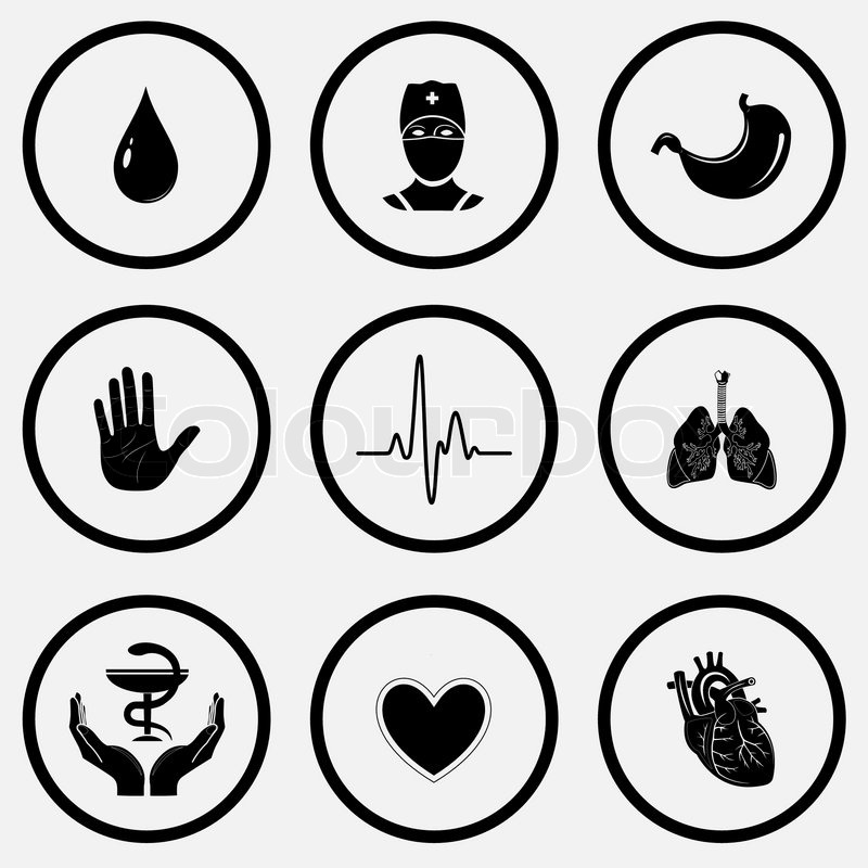 Drop Doctor Stomach Stop Hand Cardiogram Lungs Pharma Symbol