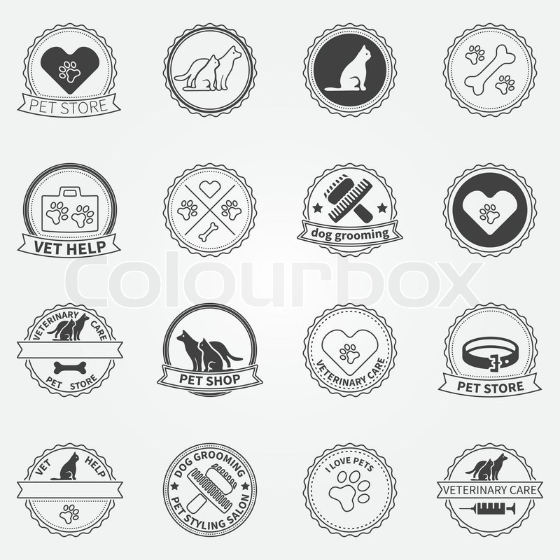 Dog Ans Cats Logos And Badges Vector Stock Vector