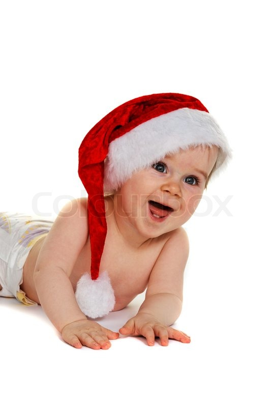38215058402 Small child with Baby Santa Claus hat ...
