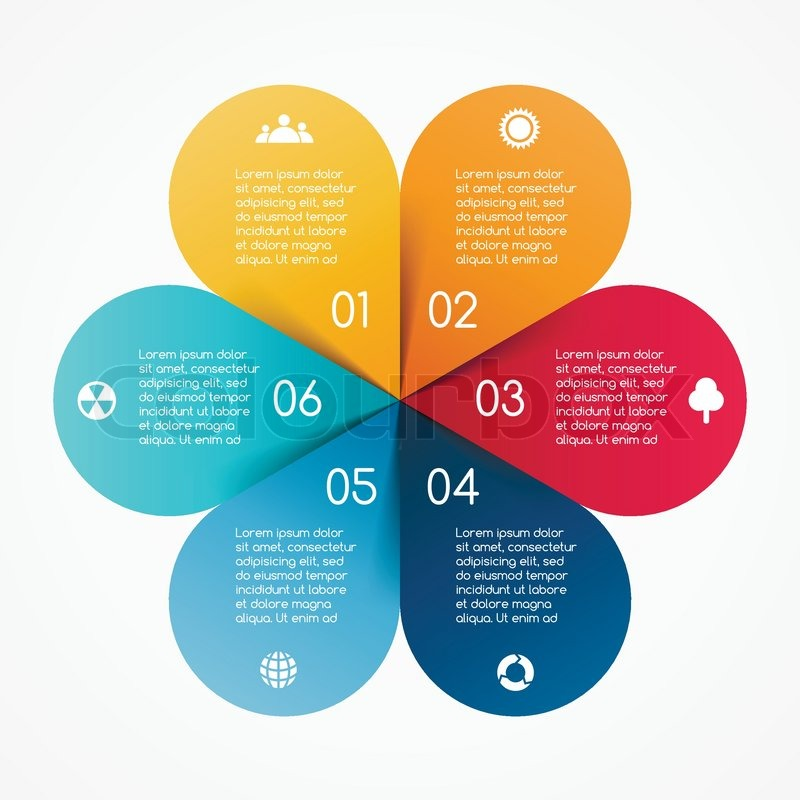 vector circle color leaves infographic template for diagram graph