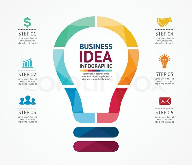 Vector idea infographic with light bulb template for creative template for creative diagram graph presentation and chart business concept with 6 options parts steps or processes of brainstorm and creativity cheaphphosting
