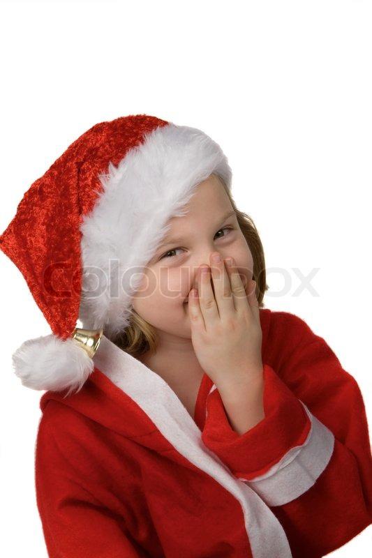 little girl  child  as santa claus  santa claus