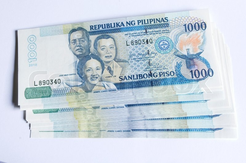 a stack of philippines peso  in one thousand denomination