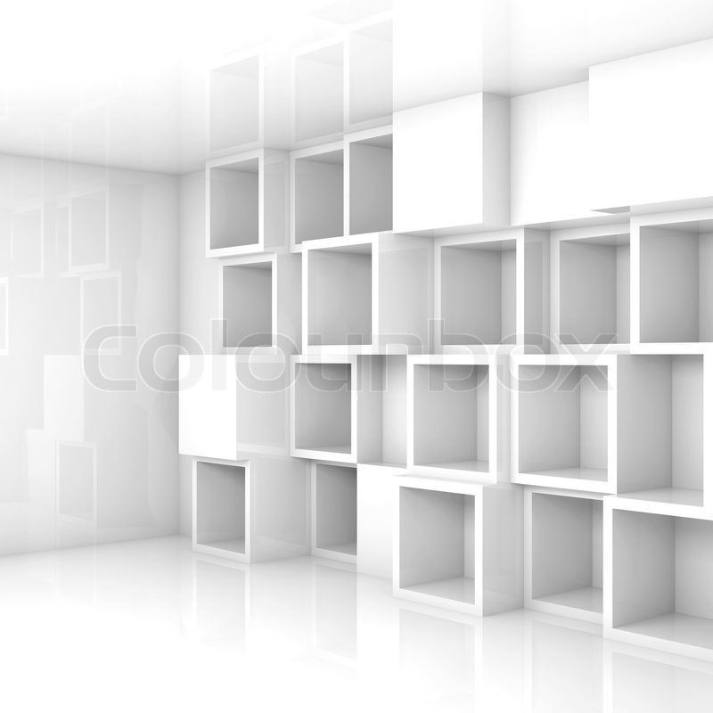 3d Wall Shelving : Abstract empty d interior with white cubes shelves on the