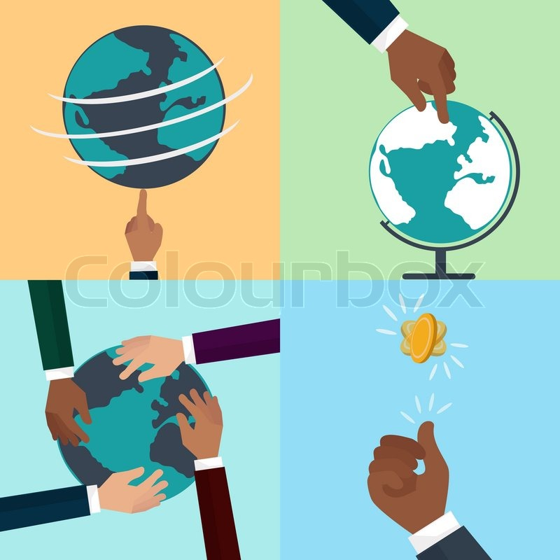 Flat icon set of business and bargain processes human hands flat icon set of business and bargain processes human hands holding credit cards cutaway pen human hands to show world map signs the document gumiabroncs Gallery