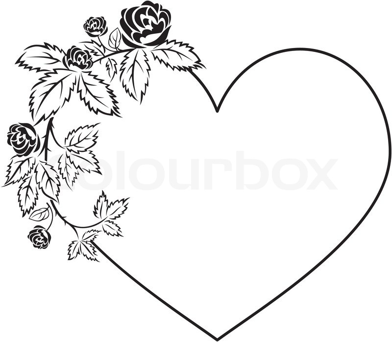 Elegant frame in shape of heart with floral ornament | Stock Vector ...