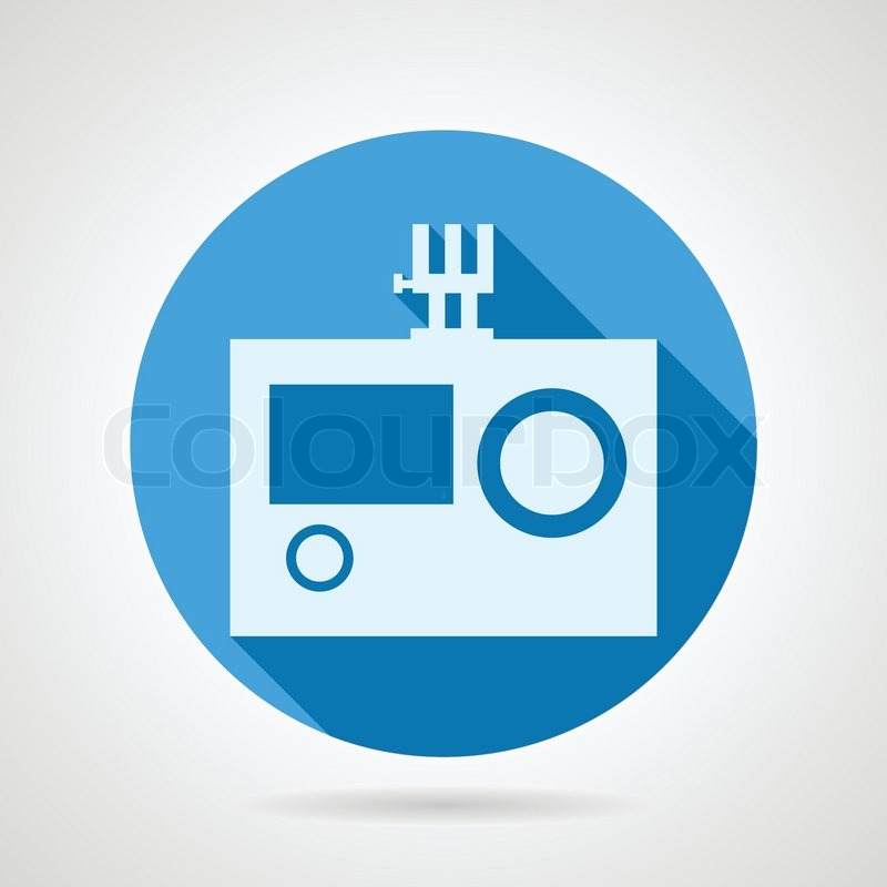 Blue round vector icon with white silhouette action camera for extreme sport on gray background. Flat design with shadow, vector