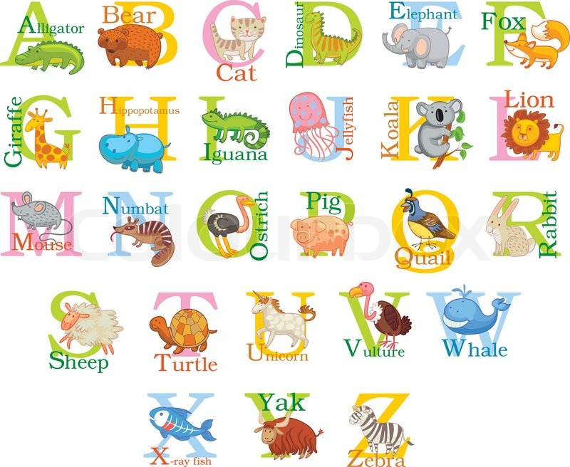 9 Letter Cartoon Characters : Cute animal alphabet funny cartoon character a b c d