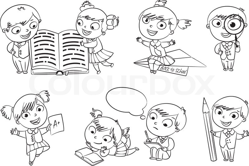 Children Reading Book Coloring Page For Preschoolers Back: Back To School. Pupils Read The ...