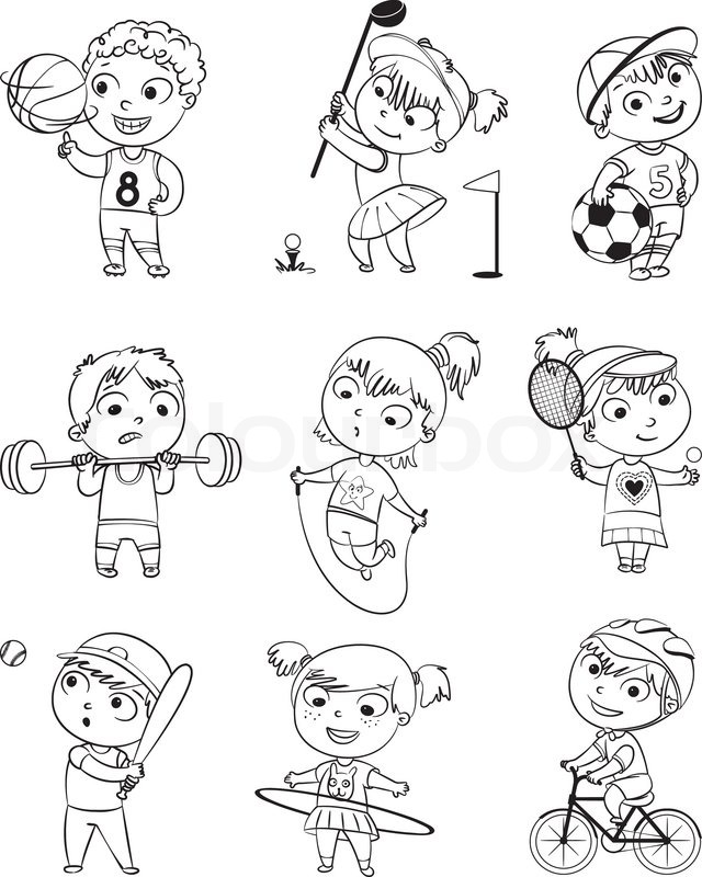 golf cycle racing weight lifter tennis basketball football baseball funny cartoon character vector illustration coloring book set vector - Sports Coloring Book