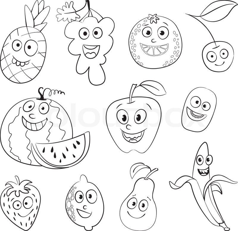 I love fruit. Funny cartoon character. ... | Stock Vector ...