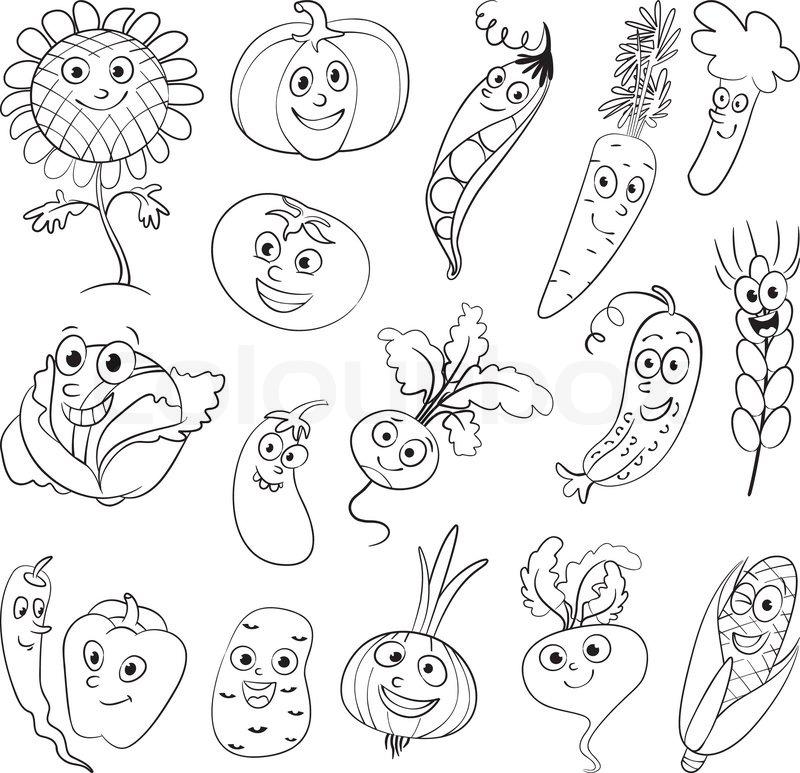 I Love Vegetables Funny Cartoon Character Vector Illustration Coloring Book Set