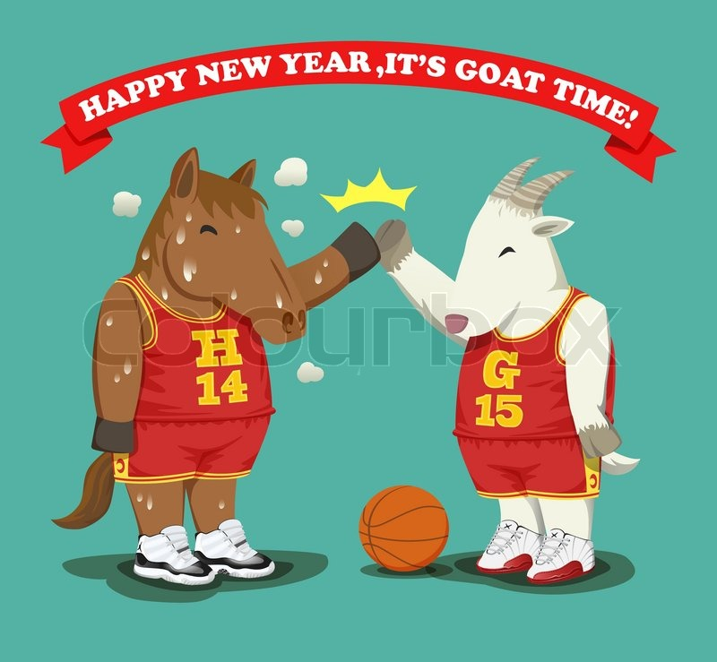 basketball style sweaty fat horse give high five with fat goat as a years zodiac change from horse to goat stock vector colourbox