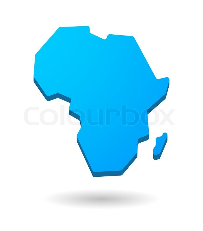 Blue isolated Africa continent map icon | Stock Vector | Colourbox