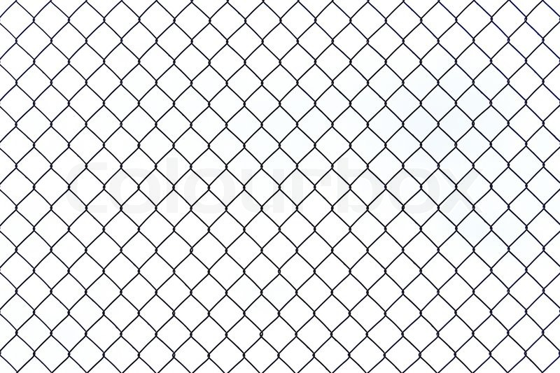 Braid wire fence texture on a white background | Stock Photo | Colourbox