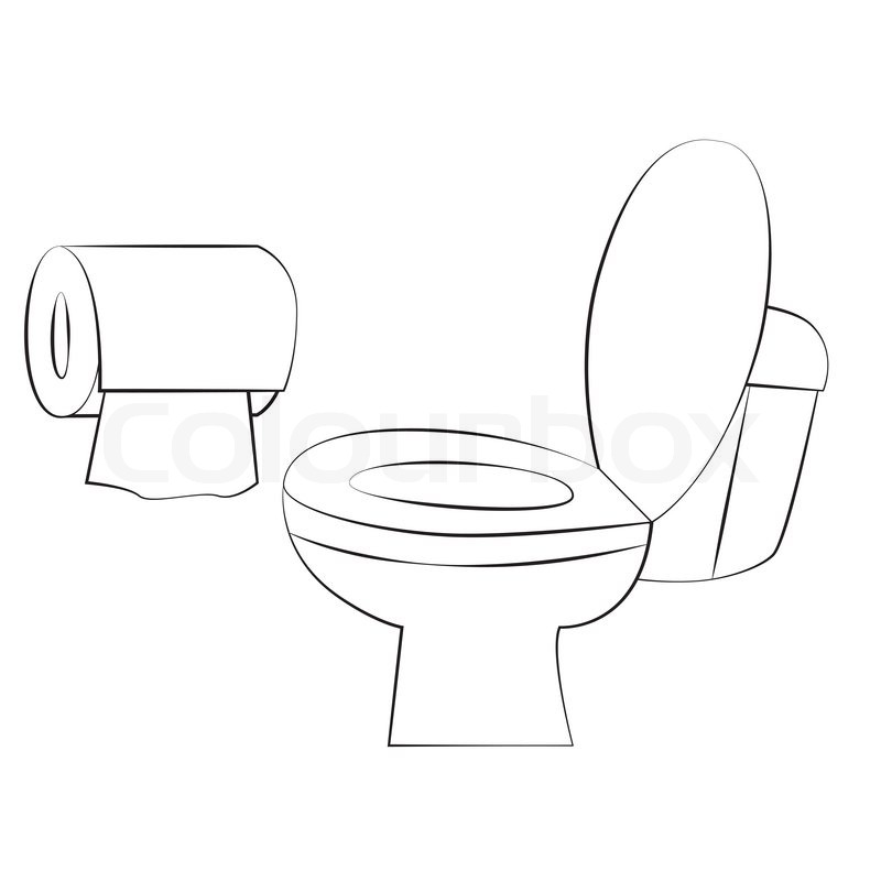 black outline vector toilet on white background stock