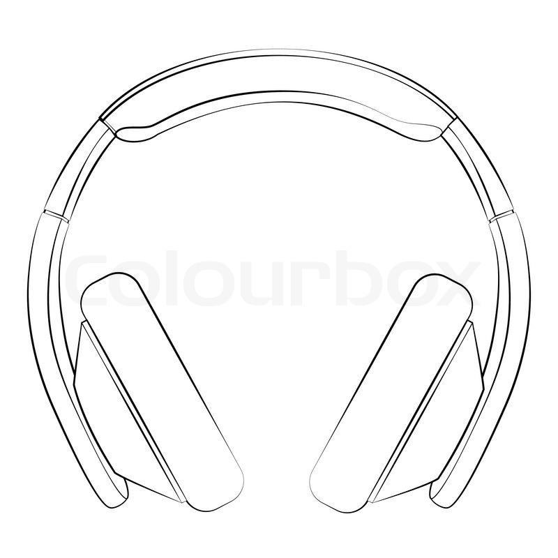 Line Art Headphones : Black outline vector headphone on white background