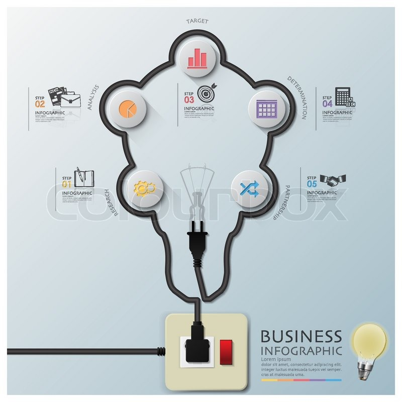 800px_COLOURBOX12073707 light bulb shape electric wire line diagram business infographic Light Switch Wiring Diagram at creativeand.co