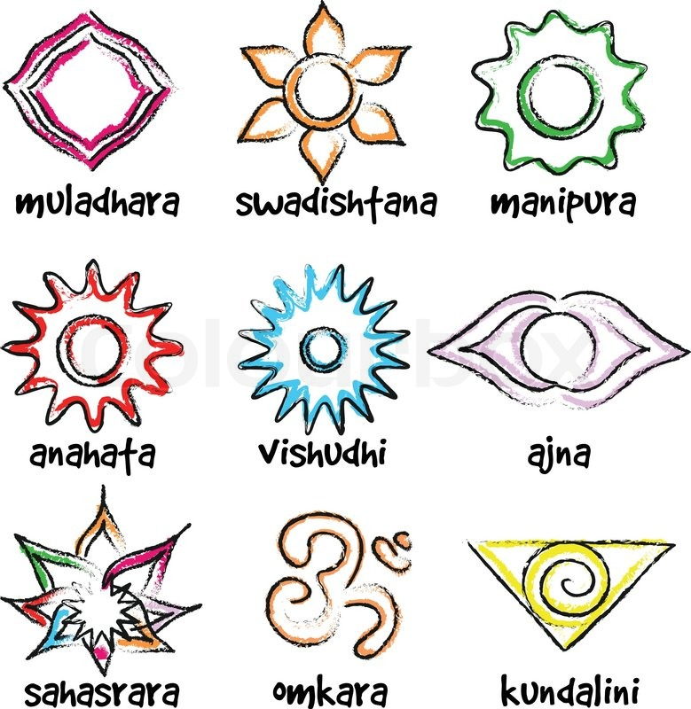 Vector Set Of Chakras Symbols Energy Centers In Yoga Stock Vector