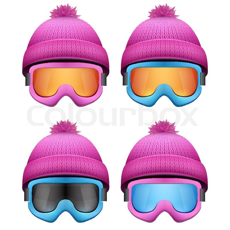 ff4283413b56 Set of Knitted woolen pink caps with snow goggles. Winter seasonal sport hat.  Vector illustration isolated on white background