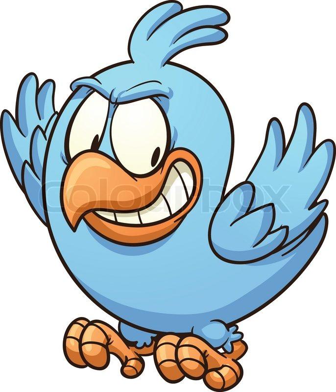 evil blue bird looking down vector clip art illustration with rh colourbox com evil clipart face clipart evil eyes