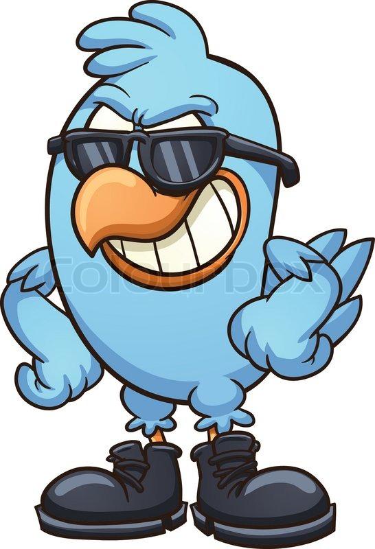 Smug Cartoon Blue Bird Wearing Shades Stock Vector Colourbox