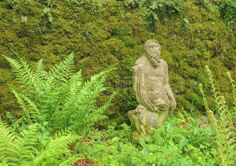 Stone Statue of a Male at Buckland Abbey Gardens and Estate , 700 Year old House, near Yelverton, Devon, England, UK, stock photo