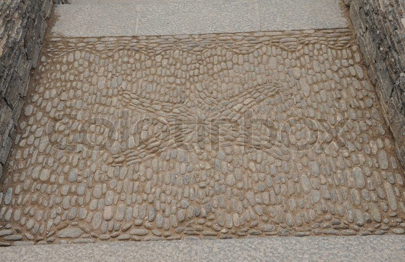 Cobble Stone Mosaic of a Star Fish at Buckland Abbey Gardens and Estate , 700 Year old House, near Yelverton, Devon, England, UK, stock photo